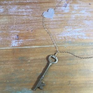 Vintage Skeleton Key & Gold Fill Chain Necklace